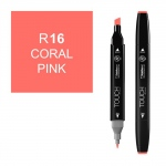 ShinHan Art TOUCH Twin Coral Pink Marker; Barrel Color: Black; Color: Red/Pink; Double-Ended: Yes; Ink Type: Alcohol-Based; Refillable: Yes; Tip Type: Dual; (model 1110016-R16), price per each
