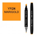ShinHan Art TOUCH Twin Marigold Marker: Black, Orange, Double-Ended, Alcohol-Based, Refillable, Dual, (model 1110024-YR24), price per each