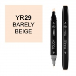 ShinHan Art TOUCH Twin Bareley Beige Marker; Barrel Color: Black; Color: White/Ivory; Double-Ended: Yes; Ink Type: Alcohol-Based; Refillable: Yes; Tip Type: Dual; (model 1110029-YR29), price per each