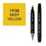 ShinHan Art TOUCH Twin Deep Yellow Marker; Barrel Color: Black; Color: Yellow; Double-Ended: Yes; Ink Type: Alcohol-Based; Refillable: Yes; Tip Type: Dual; (model 1110032-YR32), price per each