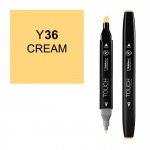 ShinHan Art TOUCH Twin Cream Marker: Black, Yellow, Double-Ended, Alcohol-Based, Refillable, Dual, (model 1110036-Y36), price per each