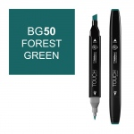 ShinHan Art TOUCH Twin Forest Green Marker; Barrel Color: Black; Color: Green; Double-Ended: Yes; Ink Type: Alcohol-Based; Refillable: Yes; Tip Type: Dual; (model 1110050-BG50), price per each