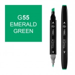 ShinHan Art TOUCH Twin Emerald Green Marker; Barrel Color: Black; Color: Green; Double-Ended: Yes; Ink Type: Alcohol-Based; Refillable: Yes; Tip Type: Dual; (model 1110055-G55), price per each