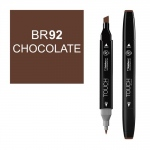 ShinHan Art TOUCH Twin Chocolate Marker; Barrel Color: Black; Color: Brown; Double-Ended: Yes; Ink Type: Alcohol-Based; Refillable: Yes; Tip Type: Dual; (model 1110092-BR92), price per each