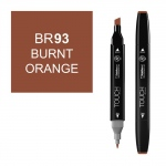 ShinHan Art TOUCH Twin Burnt Orange Marker; Barrel Color: Black; Color: Brown; Double-Ended: Yes; Ink Type: Alcohol-Based; Refillable: Yes; Tip Type: Dual; (model 1110093-BR93), price per each