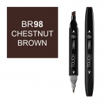 ShinHan Art TOUCH Twin Chestnut Brown Marker; Barrel Color: Black; Color: Brown; Double-Ended: Yes; Ink Type: Alcohol-Based; Refillable: Yes; Tip Type: Dual; (model 1110098-BR98), price per each