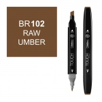 ShinHan Art TOUCH Twin Raw Umber Marker; Barrel Color: Black; Color: Brown; Double-Ended: Yes; Ink Type: Alcohol-Based; Refillable: Yes; Tip Type: Dual; (model 1110102-BR102), price per each