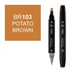 ShinHan Art TOUCH Twin Potato Brown Marker; Barrel Color: Black; Color: Brown; Double-Ended: Yes; Ink Type: Alcohol-Based; Refillable: Yes; Tip Type: Dual; (model 1110103-BR103), price per each