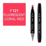 ShinHan Art TOUCH Twin Fluorescent Coral Red Marker; Barrel Color: Black; Color: Red/Pink; Double-Ended: Yes; Ink Type: Alcohol-Based; Refillable: Yes; Tip Type: Dual; (model 1110121-F121), price per each