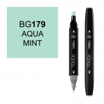 ShinHan Art TOUCH Twin Aqua Mint Marker; Barrel Color: Black; Color: Blue; Double-Ended: Yes; Ink Type: Alcohol-Based; Refillable: Yes; Tip Type: Dual; (model 1110179-BG179), price per each