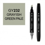 ShinHan Art TOUCH Twin Grayish Green Pale Marker; Barrel Color: Black; Color: Green; Double-Ended: Yes; Ink Type: Alcohol-Based; Refillable: Yes; Tip Type: Dual; (model 1110232-GY232), price per each