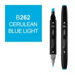 ShinHan Art TOUCH Twin Cerulean Blue Light Marker; Barrel Color: Black; Color: Blue; Double-Ended: Yes; Ink Type: Alcohol-Based; Refillable: Yes; Tip Type: Dual; (model 1110262-B262), price per each