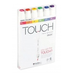 ShinHan Art TOUCH Twin Brush Main Colors 6-Piece Marker Set: White, Double-Ended, Alcohol-Based, Refillable, Dual, (model 1200613), price per set