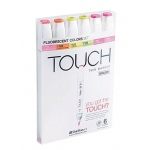 ShinHan Art TOUCH Twin Brush Fluorescent Colors 6-Piece Marker Set: White, Double-Ended, Alcohol-Based, Refillable, Dual, (model 1200623), price per set