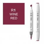 ShinHan Art TOUCH Twin Brush Wine Red Marker: White, Red/Pink, Double-Ended, Alcohol-Based, Refillable, Dual, (model 1210001-R1), price per each