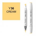 ShinHan Art TOUCH Twin Brush Cream Marker; Barrel Color: White; Color: Yellow; Double-Ended: Yes; Ink Type: Alcohol-Based; Refillable: Yes; Tip Type: Dual; (model 1210036-Y36), price per each