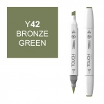 ShinHan Art TOUCH Twin Brush Bronze Green Marker; Barrel Color: White; Color: Green; Double-Ended: Yes; Ink Type: Alcohol-Based; Refillable: Yes; Tip Type: Dual; (model 1210042-Y42), price per each
