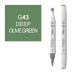 ShinHan Art TOUCH Twin Brush Deep Olive Green Marker: White, Green, Double-Ended, Alcohol-Based, Refillable, Dual, (model 1210043-G43), price per each