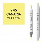 ShinHan Art TOUCH Twin Brush Canaria Yellow Marker; Barrel Color: White; Color: Yellow; Double-Ended: Yes; Ink Type: Alcohol-Based; Refillable: Yes; Tip Type: Dual; (model 1210045-Y45), price per each