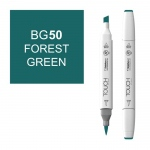 ShinHan Art TOUCH Twin Brush Forest Green Marker; Barrel Color: White; Color: Green; Double-Ended: Yes; Ink Type: Alcohol-Based; Refillable: Yes; Tip Type: Dual; (model 1210050-BG50), price per each