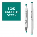 ShinHan Art TOUCH Twin Brush Turquoise Green Marker: White, Green, Double-Ended, Alcohol-Based, Refillable, Dual, (model 1210053-BG53), price per each
