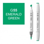 ShinHan Art TOUCH Twin Brush Emerald Green Marker: White, Green, Double-Ended, Alcohol-Based, Refillable, Dual, (model 1210055-G55), price per each
