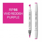 ShinHan Art TOUCH Twin Brush Vivid Red Purple Marker: White, Purple, Double-Ended, Alcohol-Based, Refillable, Dual, (model 1210086-RP86), price per each