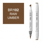 ShinHan Art TOUCH Twin Brush Raw Umber Marker: White, Brown, Double-Ended, Alcohol-Based, Refillable, Dual, (model 1210102-BR102), price per each