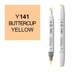 ShinHan Art TOUCH Twin Brush Buttercup Yellow Marker; Barrel Color: White; Color: Orange; Double-Ended: Yes; Ink Type: Alcohol-Based; Refillable: Yes; Tip Type: Dual; (model 1210141-Y141), price per each