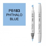 ShinHan Art TOUCH Twin Brush Phthalo Blue Marker: White, Blue, Double-Ended, Alcohol-Based, Refillable, Dual, (model 1210183-PB183), price per each