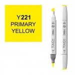 ShinHan Art TOUCH Twin Brush Primary Yellow Marker: White, Yellow, Double-Ended, Alcohol-Based, Refillable, Dual, (model 1210221-Y221), price per each