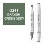 ShinHan Art TOUCH Twin Brush Grayish Green Deep Marker; Barrel Color: White; Color: Green; Double-Ended: Yes; Ink Type: Alcohol-Based; Refillable: Yes; Tip Type: Dual; (model 1210241-G241), price per each