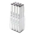 ShinHan Art TOUCH Twin Brush 12-Piece Warm Grey Marker Set: White, Black/Gray, Double-Ended, Alcohol-Based, Refillable, Dual, (model 1211201), price per set