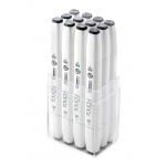 ShinHan Art TOUCH Twin Brush 12-Piece Cool Grey Marker Set; Barrel Color: White; Color: Black/Gray; Double-Ended: Yes; Ink Type: Alcohol-Based; Refillable: Yes; Tip Type: Dual; (model 1211203), price per set