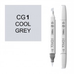 ShinHan Art TOUCH Twin Brush Cool Grey 1 Marker: White, Black/Gray, Double-Ended, Alcohol-Based, Refillable, Dual, (model 1212010-CG1), price per each