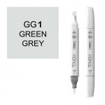 ShinHan Art TOUCH Twin Brush Green Grey 1 Marker; Barrel Color: White; Color: Black/Gray; Double-Ended: Yes; Ink Type: Alcohol-Based; Refillable: Yes; Tip Type: Dual; (model 1213010-GG1), price per each