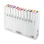 ShinHan Art TOUCH Twin Brush 36-Color Brush & Medium Broad Nib Marker Set; Barrel Color: White; Double-Ended: Yes; Ink Type: Alcohol-Based; Refillable: Yes; Tip Type: Dual; (model 1213600), price per set
