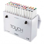 ShinHan Art TOUCH Twin Brush 48-Color Brush & Medium Broad Nib Marker Set; Barrel Color: White; Double-Ended: Yes; Ink Type: Alcohol-Based; Refillable: Yes; Tip Type: Dual; (model 1214800), price per set