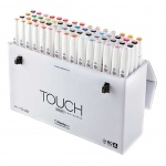ShinHan Art TOUCH Twin Brush 60-Color Brush & Medium Broad Nib Marker Set A: White, Double-Ended, Alcohol-Based, Refillable, Dual, (model 1216030), price per set