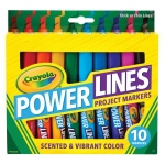 Crayola® PowerLines™ Scented Project Marker 10-Color Set; Tip Type: Chisel Nib; Type: Washable; (model 58-8194), price per set