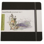 "Hand Book Journal Co.™ Travelogue Series Artist Journal 5.5"" x 5.5"" The Square Ivory Black; Color: Black/Gray; Quantity: 128 Sheets; Size: 5 1/2"" x 5 1/2""; Weight: Heavyweight; (model 721331), price per each"