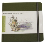 "Hand Book Journal Co.™ Travelogue Series Artist Journal 5.5"" x 5.5"" The Square Cadmium Green; Color: Green; Quantity: 128 Sheets; Size: 5 1/2"" x 5 1/2""; Weight: Heavyweight; (model 721333), price per each"