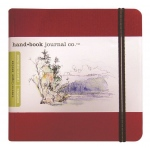 "Hand Book Journal Co.™ Travelogue Series Artist Journal 5.5"" x 5.5"" The Square Vermillion Red; Color: Red/Pink; Quantity: 128 Sheets; Size: 5 1/2"" x 5 1/2""; Weight: Heavyweight; (model 721334), price per each"