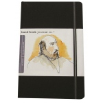 "Hand Book Journal Co.™ Travelogue Series Artist Journal 8.25"" x 5.5"" Large Portrait Ivory Black; Color: Black/Gray; Quantity: 128 Sheets; Size: 5 1/2"" x 8 1/4""; Weight: Heavyweight; (model 721411), price per each"