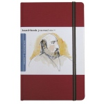 "Hand Book Journal Co.™ Travelogue Series Artist Journal 8.25"" x 5.5"" Large Portrait Vermillion Red; Color: Red/Pink; Quantity: 128 Sheets; Size: 5 1/2"" x 8 1/4""; Weight: Heavyweight; (model 721414), price per each"