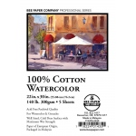 "Bee Paper® 100% Cotton Watercolor Sheets 22"" x 30"" 140lb 5pk; Format: Sheet; Quantity: 5 Sheets; Size: 22"" x 30""; Type: Watercolor; Weight: 140 lb; (model B1153P5-2230), price per 5 Sheets"