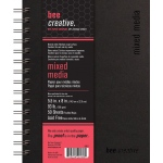 "Bee Paper® Bee Creative Mixed Media Book 5.5"" x 8""; Binding: Wire Bound; Color: White/Ivory; Format: Pad; Quantity: 50 Sheets; Size: 5.5"" x 8""; Type: Mixed Media; Weight: 93 lb; (model B20021), price per each"