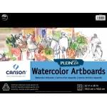"""Canson® Plein Air 12"""" x 16"""" Plein Air Watercolor Artboard Pad (Glue Bound): Glue Bound, White/Ivory, Pad, 12"""" x 16"""", Cold Press, Watercolor, 140 lb, (model C400061699), price per pad"""