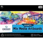 "Canson® Plein Air 12"" x 16"" Plein Air Mixed Media Artboard Pad (Glue Bound); Binding: Glue Bound; Color: White/Ivory; Format: Pad; Size: 12"" x 16""; Texture: Fine, Medium; Type: Mixed Media; Weight: 138 lb; (model C400061732), price per pad"