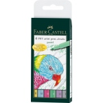 Faber-Castell® PITT® 6-Piece Pastels Artist Pen Wallet Set; Ink Type: India; Tip Type: Brush Pen; (model FC167163), price per set